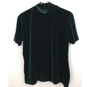 L/XL Womens Green Velvet Top Stretchy Beautiful!